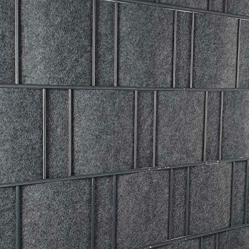 PerfectHD Zaunsichtschutz | Sichtschutzstreifen für Doppelstabmattenzaun | Windschutz Sonnenschutz Blickdicht | Polyester Gewebe | PVC frei | Nachhaltig | 26m Rolle | 19cm | Grau | Florenz