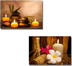 wall26 - Canvas Prints Wall Art - Spa Still Life with Aromatic Candles and Frangipani | Modern Wall Decor/Home Decoration Stretched Gallery Canvas Wrap Giclee Print - 16