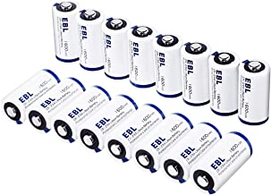EBL CR123A CR123 Lithium Batteries for Arlo Cameras, Polaroid, Microphones, Flashlight [CAN NOT BE RECHARGED] with Battery Storage Box, Pack of 16