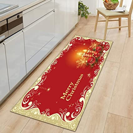 Merry Christmas Area Rug Red Golden Xmas Wreath Floral Baubles Patterned Large Hallway Floor Mat Xmas Decoration Living Room Home Bedroom Decorative Soft Carpet Amazon Co Uk Kitchen Home