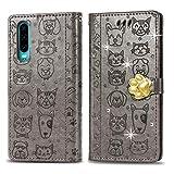 Oihxse Mignon Case Compatible pour Samsung Galaxy Note 9 Coque Housse Étui Cuir PU Portefeuille avec Carte Fentes Fonction Stand Motif Chat et Chien Brillant Glitter Diamant Cover,Gris