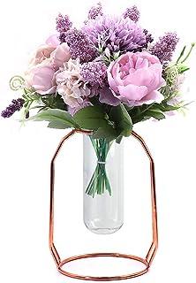 ANZOME Fleurs artificielles en Soie réaliste Décoration de Bouquet de Fleurs de Pivoine avec Vase de Fausses Fleurs en Soi...