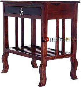 Custom Decor Japanese Style Bedside Table for Bedroom | Solid Wood Side Table for Bedroom | Living Room Table | Side Table for Living Room Furniture Made with Solid Indian Sheesham Wood - Mahogany Finish