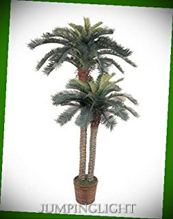 JumpingLight 5033 6' & 4' Sago Palm Double Potted Silk Tree Artificial Flowers Wedding Party Centerpieces Arrangements Bouquets Supplies