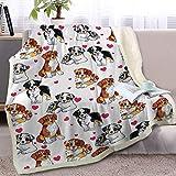 BlessLiving Australian Shepherd Blanket for Kids Red Hearts Dog Print Fleece Throw Blanket Cute Puppy 3D Animal Print Sherpa Plush Blanket Gift for Women Men (50 x 60 Inches)