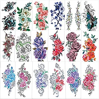 Konsait 18 Sheets Large Temporary Tattoos Flower,Rose Tattoo Temporary Waterproof Sexy Body Tattoo Sticker for Woman Adult Girls Fake Tattoo Arms Legs Shoulder Back