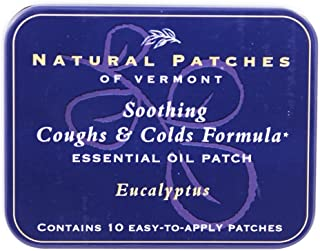 Natural Patches Of Vermont Essential Oil Patches Eucalyptus, Coughs & Cold Relief 10 Count Tins