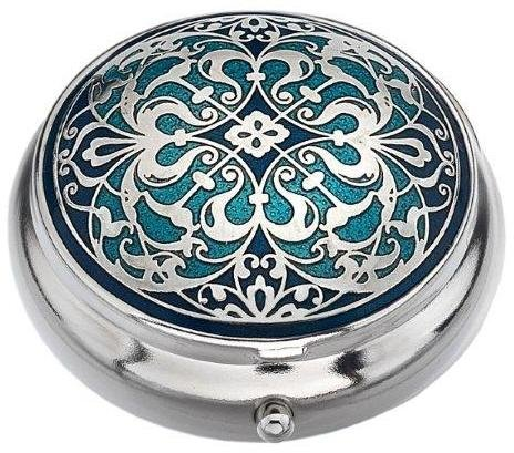 Sea Gems presented by Celtic Glass Designs Pill Box (Standard Size) in an Arabesque Design in Blue Color