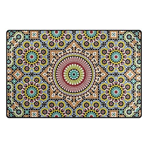 LIANCHENYI traditionelles arabisches Design, rutschfeste Fußmatte für Wohnzimmer, Schlafzimmer, 78,7 x 50,8 cm, Polyester, Multi, 60 x 39 inch