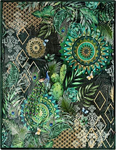 HIP Wohndecke Botalia Nicki-Velours grün Größe 130x160 cm