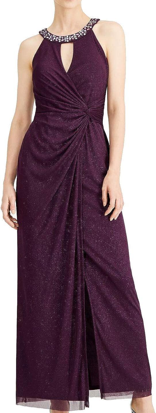 Jessica Howard Womens Mesh Glitter Evening Dress