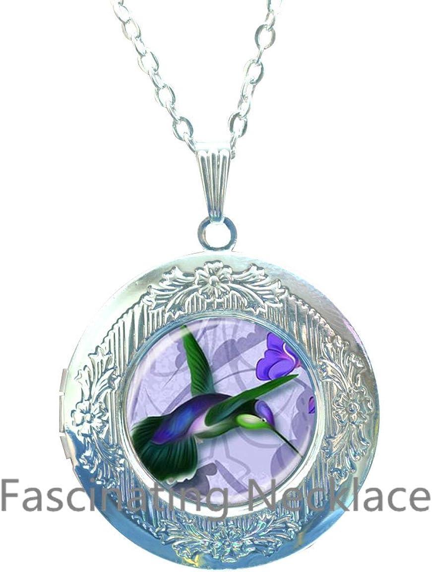 Super-cheap Fashion Max 40% OFF Art Bird Picture Locket Hummingbird Green Pendant Purple