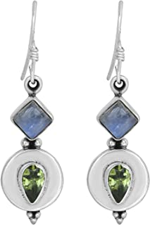 MAHAL JEWELS Peridot & Rainbow Moonstone Gemstone 925 Sterling Silver Handmade Jewelry Dangle Earrings SE-240