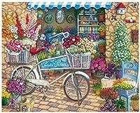 子供と大人のためのDIY油絵キットキットの数字でペイント花でいっぱいの自転車40x50cmフレームなし家の装飾フレームレス