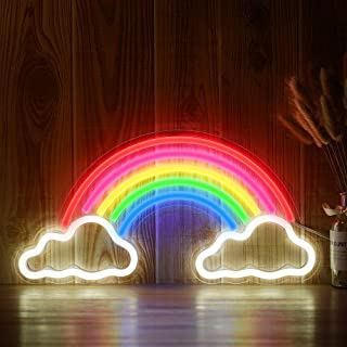 OYE HOYE Decorative LED Rainbow Shaped Neon Sign Light, Wall Decor Art Neon Sign for Home Decoration,Bedroom, Lounge, Office, Wedding, Christmas, Valentine's Day Party Operated by USB (Rainbw)