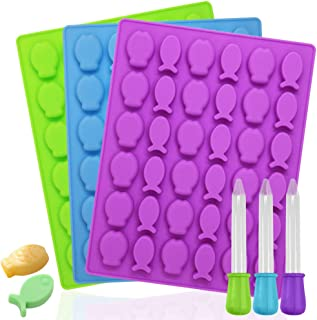 3 Pack Fish Shaped Silicone Molds,YuCool Food Grade Silicone Tray with 3 Pack Droppers for Chocolate,Candy,Fondant,Gelatin,Jello,Jelly,Baking Muffin Cake,Mini Soap,Plaster,Ice Cube-Purple,Blue,Green