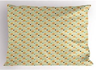 Ducan Lincoln Pillow Case 4 Piezas 18X18 Pulgadas Funda De Almohada Geométrica,Rayas Y Círculos Contemporáneos con Rayas,Cuadros,Funda De Almohada Estampada Estándar para El Hogar