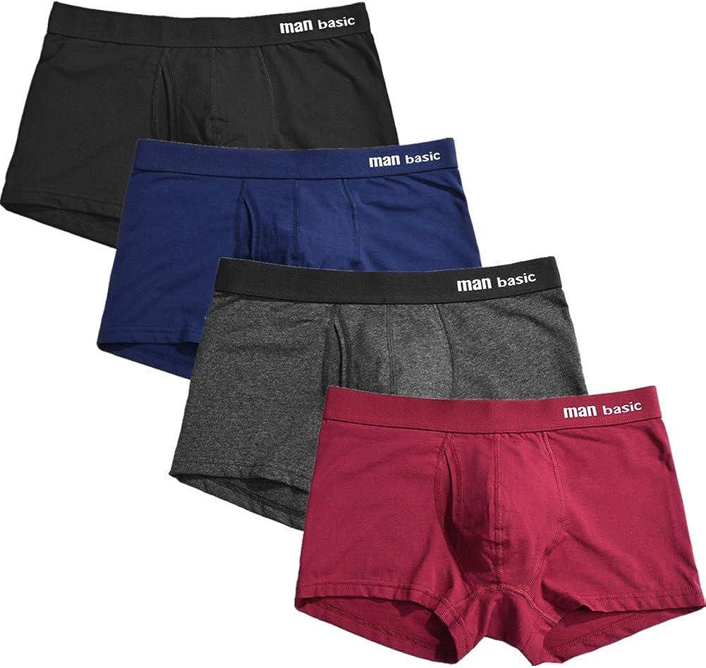 Cotton Men Underwear Boxers Briefs Soft Breathable Underpants for Man 4-Pack