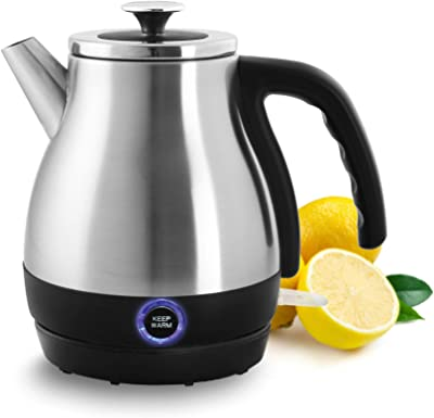 Chantal Keep Warm Stainless Steel Electric Kettle, Brushed Stainless Steel, 1 quart