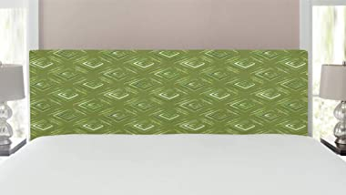 Ambesonne Olive Green Headboard, Grunge Geometric Pattern Square Shape Diagonal Abstract Rhombus, Upholstered Decorative Meta