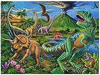 IRJGLDボックスパッキング300ピース木製ジグソーパズル恐竜シーンジグソーパズル楽しいゲームおもちゃ誕生日プレゼント