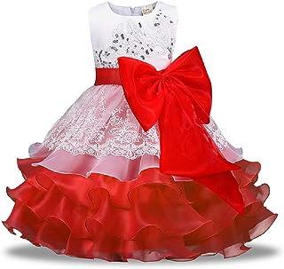 Hooyi Vestido de novia para niña de flores, encaje de tul sin mangas, vestido de princesa con lazo y cinturón formal, disf...