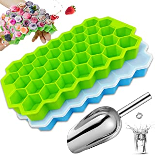 Ice Cube Trays with Ice Scoop 2 Pack, KAZIMOO Silicone 74 Ice Trays Molds for Freezer with Spill-Resistant Covers/Lids, Ea...