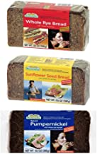 Mestemacher Natural High Fiber Bread 3 Flavor Variety Bundle: (1) Whole Rye, (1) Pumpernickel, and (1) Sunflower Seed, 17.6 Oz. Ea. (3 Total)