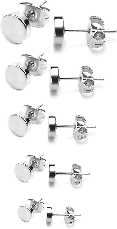 Surgical Steel Earrings, Stainless Steel Studs Earrings Men Women Hypoallergenic Round Earrings Pierced Tunnel 5-10 Pairs