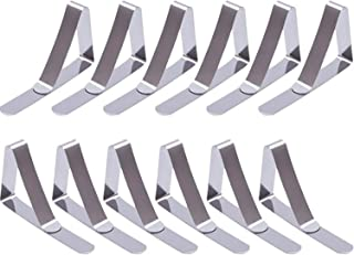 Colore: Argento 12 fermatovaglia triangolari Regolabili in Acciaio Inox per Evitare Che la tovaglia scivoli FOONEE pu/ò Contenere tavoli di Spessore Fino a 4,5 cm