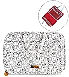 Makeup Travel Bag with Brush Compartment, Portable Cosmetic Case Organizer for Storage of Toiletries, Black & White Floral