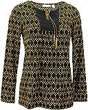 Susan Graver Printed Liquid Knit Top Tassels Black Yellow XXS New A285426