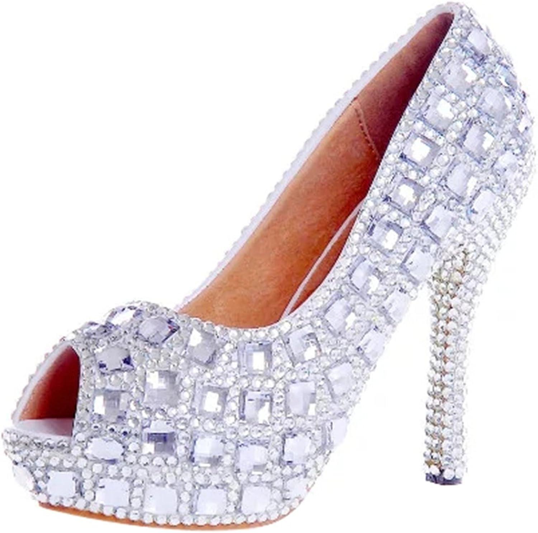 TDA Women's Peep Toe Dazzling Rhinestones Wedding Party Dress Stiletto shoes