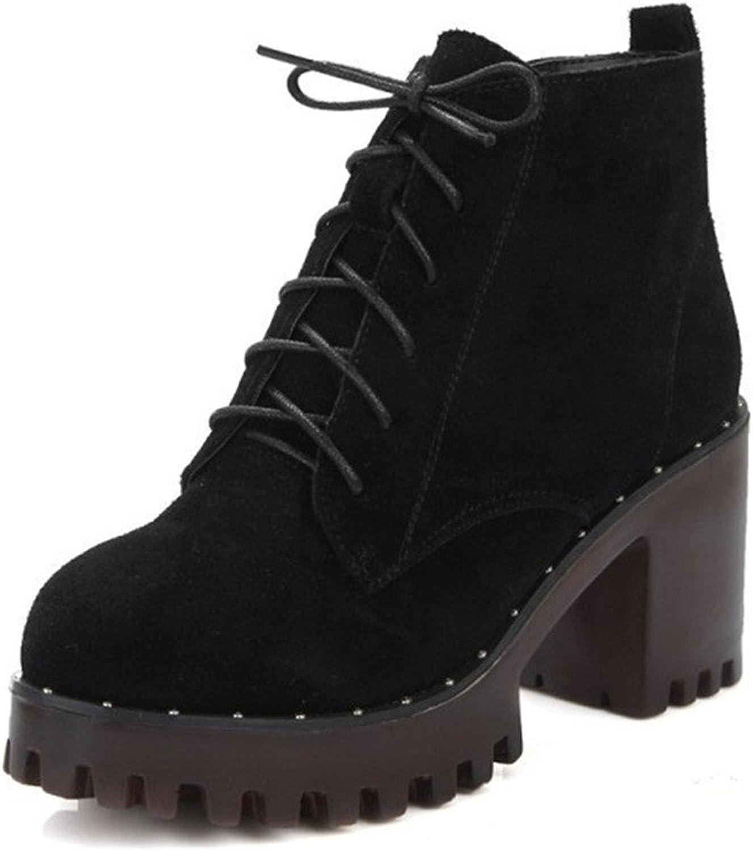 Zalezing Womens Rivet Lace Up Chunky Heel Short Martin Boots