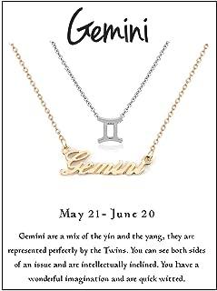 Zealmer Women 16K Gold Plated 12 Zodiac Sign Letter Pendant Necklace 18