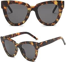 BCHZ Women Lady Retro Cat Eye Sunglasses Designer Square Frame Eyeglass Shades UV Protection (Tortoiseshell+Grey)