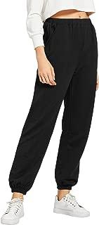 Women's Drawstring Waist Active Workout Pant High Waist Elastic Yoga Jogger Pants with Pocket