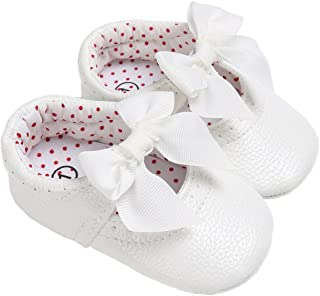 LINKEY Baby Girls Mary Jane with Bowknot Princess Dress Shoes Crib Shoes for Photos
