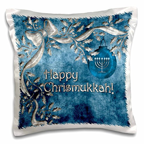3dRose pc_52281_1 Happy Chrismukkah Blue and Silver Ornament and Menorah - Pillow Case, 16 by 16'