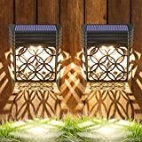 Nasharia Solar Deck Lights Outdoor, Solar Fence Light Wall Lights Led Garden Decorative Lighting Waterproof Decorative Step Lights for Post,Patio, Front Door, Step, Stair, Yard, Warm White, 2Pack
