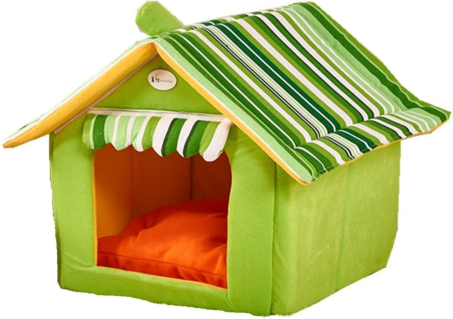 Dog Cave Cat Cave Dog House Dog Bed Cat Bed Dog House Pet Kennel Removable Roof Small Pet (L, GREEN)
