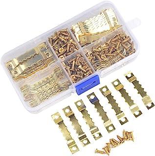 TIMESETL 100 Piezas Colgador Cuadros con 200 Piezas Tornillos Colgador Fotos Sierra No Más Clavos (Dorado) con Caja Plastica
