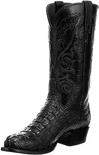 Lucchese Mens Handmade Black Hornback Caiman Crocodile Exotic Western Boots