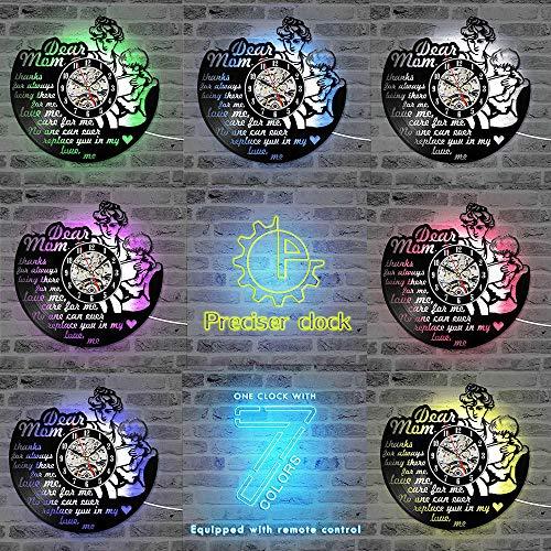 Gelukkige Moederdag Thema Vinyl Record Wandklok Stille Decoratieve LED Klok Handgemaakte Hangende Record Klokken Beste Cadeau voor Mom-B_with_LED