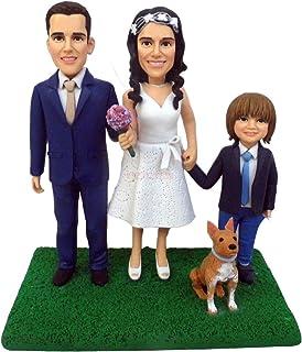 OOAK muñeca de arcilla polimérica regalos familiares estatuilla personalizada con perro de la familia gato boda pastel de ...