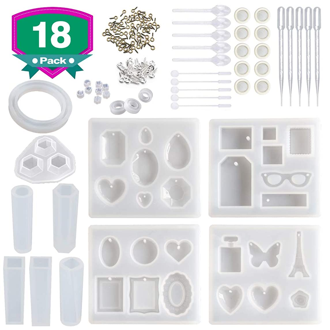 Resin Molds for Jewelry,18 Pack Silicone Molds Kit for Casting Epoxy Resin UV Resin,Include Pendant, Bracelet, Earring, Ring,Diamond Molds,with Resin Mixing and Measuring Tools