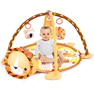 BABY JOY Baby Play Gym Mat, 3 in 1 Activity Mat with Removable Toys Bars & Walls, 4-Piece Hanging...