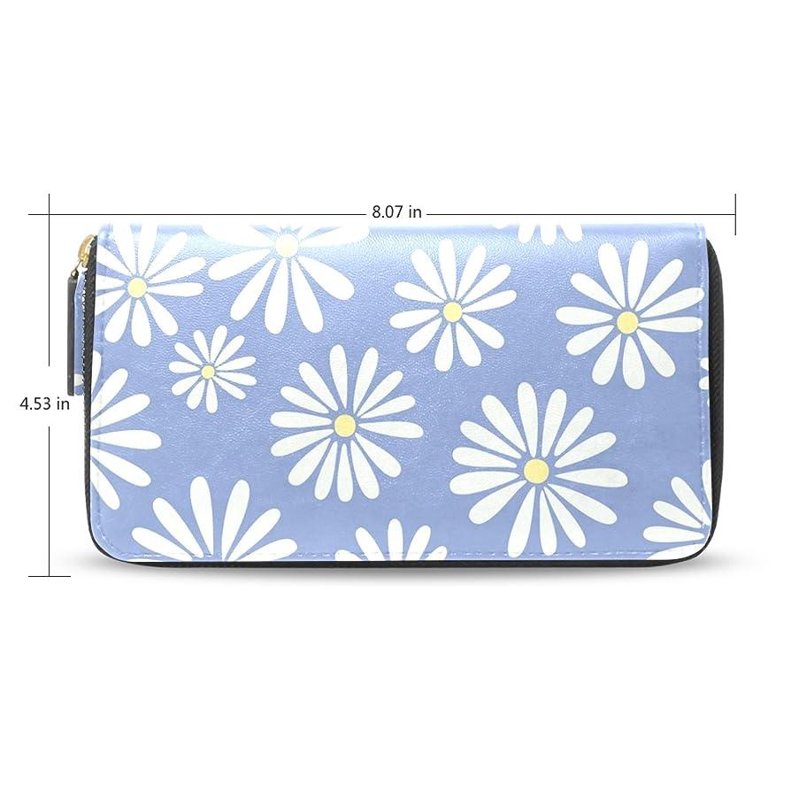 検出投げるスタイル女性用ホワイトDaisyパターン長財布&財布ケースカードホルダー
