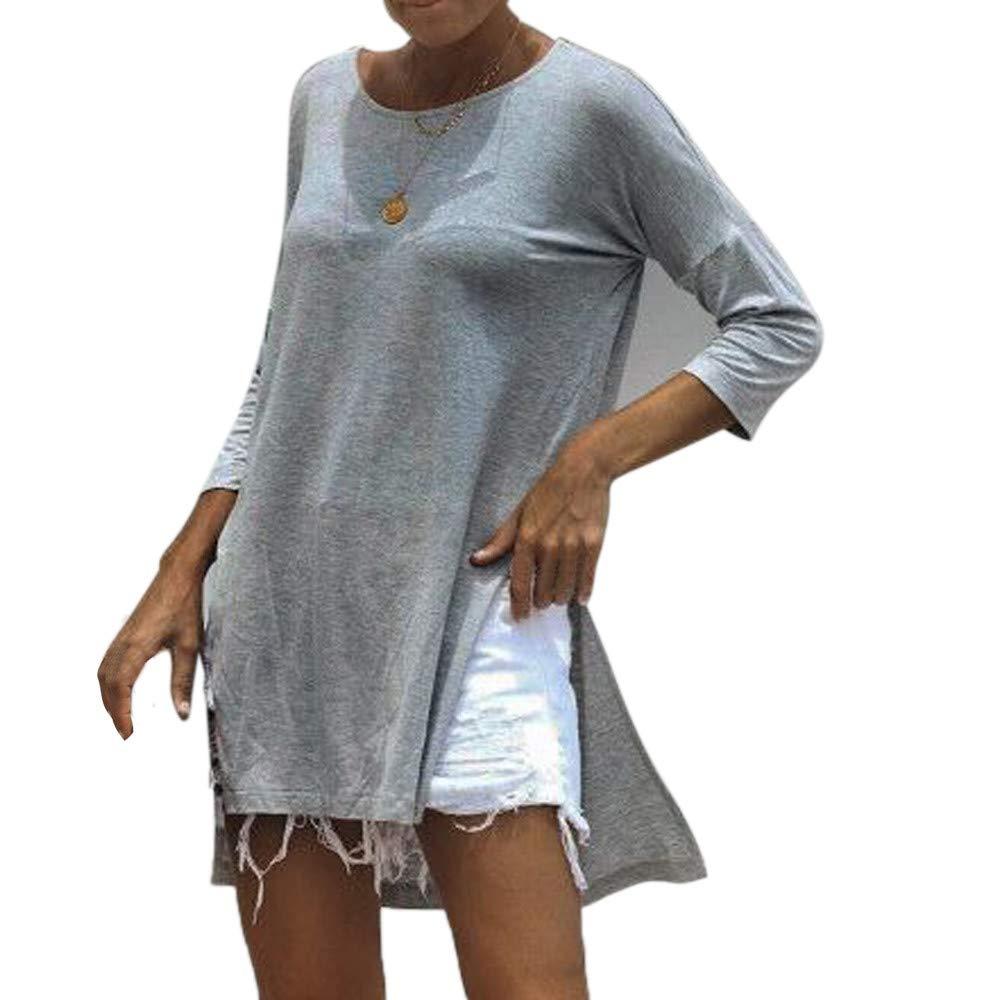 Ronamick Camisetas Gatos Mujer Encaje Sexy Blusa Nochevieja Mujer Tops Niña 12 Años Encaje Sexy Camisa Azul (Gris,L): Amazon.es: Hogar