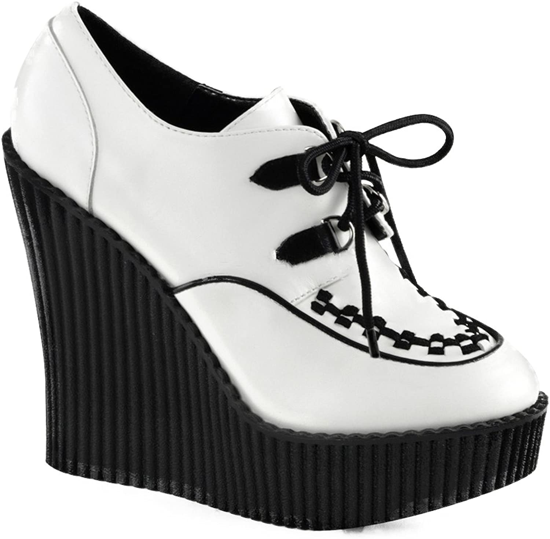Demonia Women's CREEPER-302 Wedge Platform shoes White